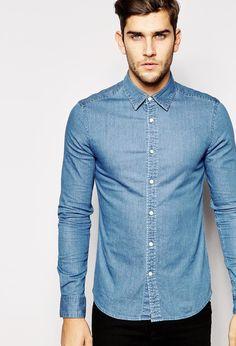 ASOS - ASOS Skinny Denim Shirt with Long Sleeves In Mid Wash