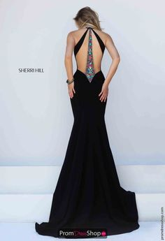 Sherri Hill Beaded Black Evening Gown 50122