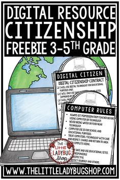 Free Digital Citizenship and Computer Rules Posters. These are a great addition to any computer lab or class computer area. Just Print and Use! Perfect for Google Classroom Learning and for students in 2nd grade, 3rd grade, 4th grade. #digitalclassroom #googleclassroom