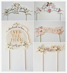 "Adorable custom-made paper cake toppers from Etsy // I need this ""over the moon""… Diy Cake Topper, Birthday Cake Toppers, Wedding Cake Toppers, Cupcake Toppers, Wedding Cakes, Vintage Cake Toppers, Custom Cake Toppers, Paper Cake, Diy Paper"