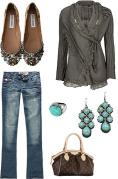 """Grey and Turquoise"" by lyricallibra21 on Polyvore"
