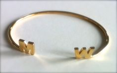Personalized Initial Gold Bangle Bracelet