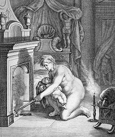 Disability and disability advocacy in Greek mythology: Engravements show Thetis anointing little Achilles with ambrosia and then preparing to put him into the fire.