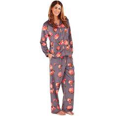 Classic Fleece Pyjamas in a Neon Rose Print - 8/10 12/14 16/18 20/22
