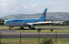Korean Air Airbus (registered taxiing at Glasgow Travel Deals, Budget Travel, Korean Air, Air Travel, Miami Beach, Taxi, Aviation, Aircraft, Glasgow