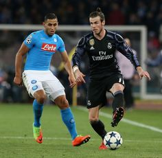 Faouzi Ghoulam Photos Photos - Faouzi Ghoulam (L) of Napoli competes for the ball with Gareth Bale of Real Madrid during the UEFA Champions League Round of 16 second leg match between SSC Napoli and Real Madrid CF at Stadio San Paolo on March 7, 2017 in Naples, Italy. - SSC Napoli v Real Madrid CF - UEFA Champions League Round of 16: Second Leg Bale 11, We Are The Champions, March 7, Naples Italy, Gareth Bale, Uefa Champions League, Soccer Players, Cute Guys, Real Madrid