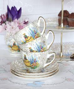 Three English bone china tea cups and saucers 3 by NancysTeaShop, $34.00