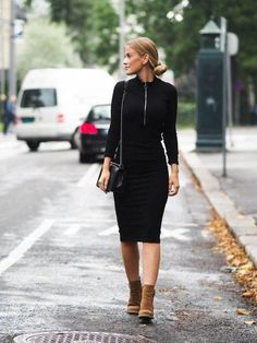 This tight fitting black dress paired with trendy camel ankle boots is both sophisticated and casual; perfect for work or play. Via Lene Orvik. Shoes: Roots, Bag: Chanel, Jacket: H&M Black Ankle Boots Outfit, Camel Ankle Boots, How To Wear Ankle Boots, Tights And Boots, Dress Boots, Tan Boots, Casual Winter Outfits, Casual Fall, Fall Outfits