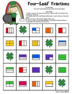 Here's a St. Patrick's Day themed game for  practicing fraction concepts.