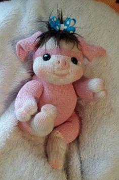 "CUSTOM ORDER, 12"" Sock Baby Pig, sock doll, cloth doll, soft sculpture doll, plush doll, sock mokey, lollipop babies"