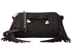 Betsey Johnson Purple Fringe Crossbody Handbag