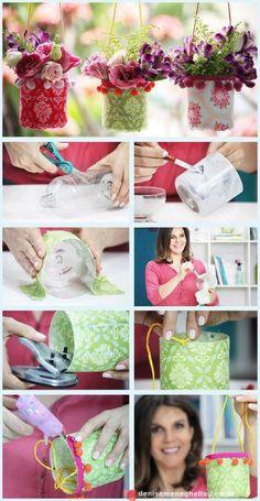 Leuke vaasjes maken van flessen petfles, mooi stofje, boordje opplakken gaatjes inmaken koord doorsteken