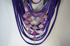 Upcycled t-shirt scarf: Purple with interesting pendant [407] by StripsUp on Etsy