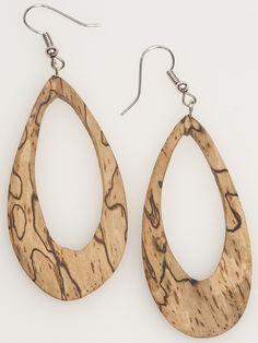 Spalted wood tear drops earrings