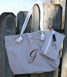 Personalized Seersucker Tote Bag