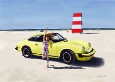 Porsche 911 on the beach. Paiting by Jonas Linell 2016.