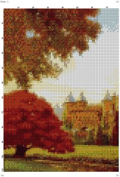 Gallery.ru / Фото #1 - PAISAJE 26 - marilyn2 Cross Stitch Designs, Cross Stitching, Beautiful Landscapes, Castle, Nature, Painting, Outdoor, Swan, Remedies
