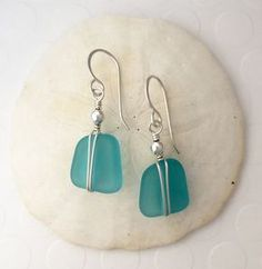 Sterling Silver and Aqua Sea Glass Earrings wire wrapped