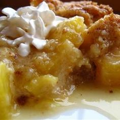 Pineapple Crisp with buttery, brown sugar crumbly topping
