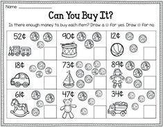 Grade Money Worksheets – Best Coloring Pages For Kids Earning money has long been associated with traditional ways in … Math Classroom, Kindergarten Math, Teaching Math, Teaching Tips, Maths, Math Games, Preschool, Kid Games, Classroom Activities