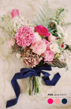 Pink + Navy Blue http://www.theperfectpalette.com/2013/11/10-wedding-color-palettes-you-need-to.html