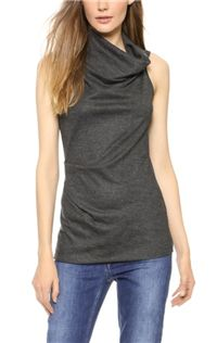 Sonar Wool Shawl Drape Top: The asymmetrical cowl neck on this Helmut Lang top is so striking.