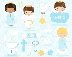 GIRLS FIRST COMMUNION 4  Digital Clipart Set My First
