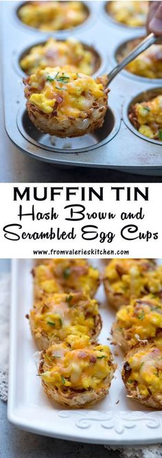 Crispy hash brown cups baked with a cheesy scrambled egg and bacon mixture. Muffin Tin Hash Brown and Scrambled Egg Cups are perfect for your brunch menu!