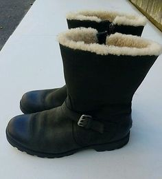 UGG Australia Chantay Leather Mid Calf Leather Boots Sherpa Lined Womens 9 Snow