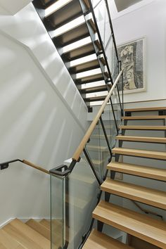 Beacon Street Penthouse no. Staircase Interior Design, Staircase Railing Design, Home Stairs Design, Stair Handrail, Stairs Architecture, Modern Interior Design, Stair Landing Decor, Stair Decor, Rustic Stairs