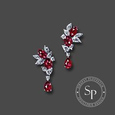 Jewelry OFF! A pair of exquisite burmese ruby earrings design for Dehres 💎 Pearl Stud Earrings, Crystal Necklace, Gemstone Earrings, High Jewelry, Jewelry Art, Jewelry Design Drawing, Jewelry Illustration, Jewellery Sketches, Hanging Earrings