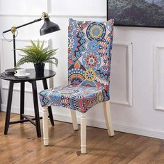 Chair cover Sunny style - Sunailoom Cheap Chair Covers, Stretch Chair Covers, Spandex Chair Covers, Patterned Dining Chairs, Interior Bohemio, Dining Seat Covers, Kitchen Table Chairs, Dining Room, Room Kitchen