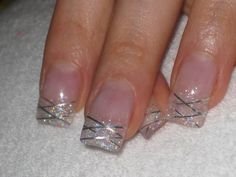 Don't forget about your nails! Silver Sparkly Nails, Rhinestone Nails, French Tip Acrylic Nails, French Nails, Cute Nails, Pretty Nails, Hair And Nails, My Nails, Long Red Nails