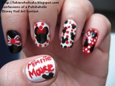 Minnie mouse and hello kitty nails usa diferentes colores y Disney Inspired Nails, Disney Nails, Different Nail Designs, Cute Nail Designs, Hair And Nails, My Nails, Nails Usa, Minnie Mouse Nail Art, Hello Kitty Nails