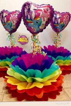 Pompom centerpieces, rainbow centerpieces, muy little pony Party decorations, centros de mesa arcoiris, @tuttiparty                                                                                                                                                      Más