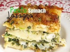 A Little Less Meat: Pesto Spinach Lasagna