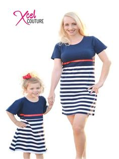 Style: because your personality isn't the first thing people see. http://www.xcelcouture.com/mommy-me-stripes-navy-dress/