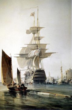 George Hyde Chambers (1803 – 1840) \\ HMS Britannia entering Portsmouth . 1835 \ National Maritime Museum, Greenwich, London \\ HMS Britannia was a 120-gun first-rate ship-of-the-line of the Royal Navy, laid down in 1813 and launched on 20 October 1820.