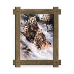 Framed in a rustic-style design, these distressed frames, are the perfect complement to the art they enhance a grizzly and two cubs in scarves sledding down a hill in an old fashioned toboggan. Art by Mason Maloof Designs.