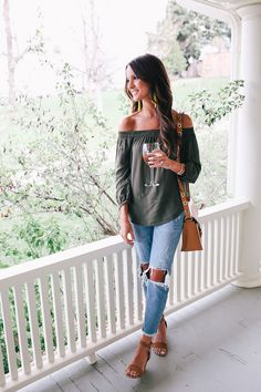 off the shoulder top & boyfriend jeans