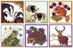 British Animals 2 - Badger, Blackface Sheep, Dormouse, Frog, Hedgehog or Stag Miniature kits including counted cross stitch patterns and all...