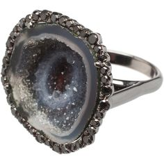 'Galaxy' geode and black diamond ring ($7,040) ❤ liked on Polyvore featuring jewelry, rings, accessories, fillers, silver, black gold rings, white ring, black gold diamond ring, geode ring and black gold and black diamond ring
