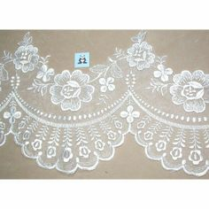 "Embroidered Organza 7"" White Scalloped Per 3 Yards"