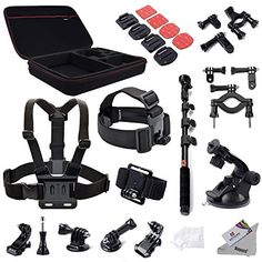 DEYARD ZG-647 GoPro Accessories Mount Kit 30pcs Bundle for GoPro HD Hero 1 2 3 &3 4 5 Hero4 Session Hero 5 Session: Head Chest Wrist Strap Bike Motorcycle Car Mounts Monopod XL Case Adapters and Stickers Cleaning cloth
