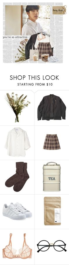 """""""Seokjin : Warm kiss like sweet coffee."""" by vntrbl ❤ liked on Polyvore featuring Abigail Ahern, ASOS, Can Pep Rey, Brora, adidas Originals, Paper & Tea, L'Agent By Agent Provocateur, Retrò and Lilou"""