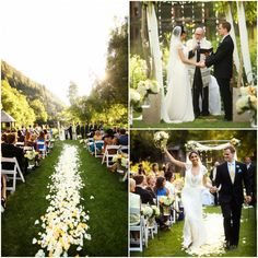 Rose Petals Line the Aisle of this Outdoor Jewish Wedding Ceremony