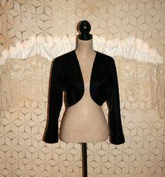 Black Velvet Jacket Cropped Jacket Bolero Jacket by MagpieandOtis
