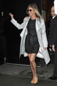 Jennifer Aniston Mini Dress - Jennifer Aniston stepped out of the 'Good Morning America' studio wearing a charcoal mini dress under a gray coat.