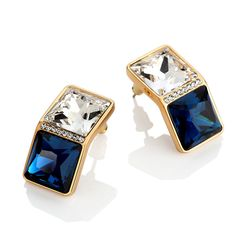 Double Square Stationed Statement Stud Earrings