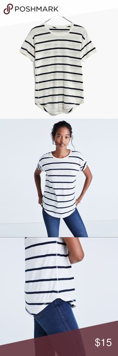 Madewell // Whisper Cotton Crewneck Tee Madewell bestselling Whisper Cotton Crewneck Tee in Creston Stripe. Perfect basic for everyday wear. Size medium. Stripes are a dark navy/almost black. Great pre-owned condition. There's a very tiny hole near the label but it's not noticeable when worn. Still being sold online for $24.50. Madewell Tops Tees - Short Sleeve